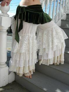 CUSTOM ORDER ONLY Fluffie Rufflie Pantaloons Tribal Bellydance Bridal Wedding Steampunk Victorian