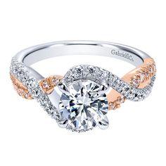 14k White/pink Gold Diamond Criss Cross Engagement Ring   Gabriel & Co NY   ER12005R4T44JJ