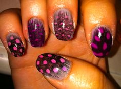 Purple madness feather nails
