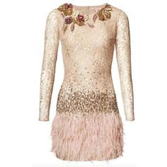 Matthew Williamson Rose Lace Feather Dress (67.755 ARS) ❤ liked on Polyvore featuring dresses, sand, short, sequin cocktail dresses, beaded cocktail dress, pink lace cocktail dress, lace cocktail dress and short sequin dress