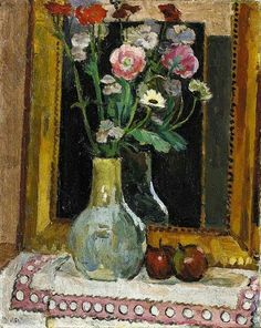 Flowers against Mirror, Vanessa Bell. English Painter (1879 - 1961)  Member of the Bloomsbury group, and the sister of Virginia Woolf.