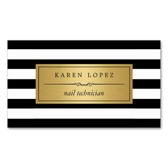 Nail Technician - Modern Black White Stripes Double-Sided Standard Business Cards (Pack Of 100). Make your own business card with this great design. All you need is to add your info to this template. Click the image to try it out!