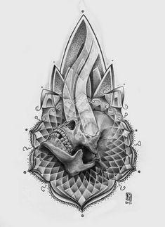 skull ornament by Maxim Vtornik, via Behance Mandala Tattoo Design, Geometric Mandala Tattoo, Geometric Tattoo Design, Tattoo Sleeve Designs, Mandala Tattoo Men, Skull Tattoo Design, Skull Tattoos, Leg Tattoos, Sleeve Tattoos