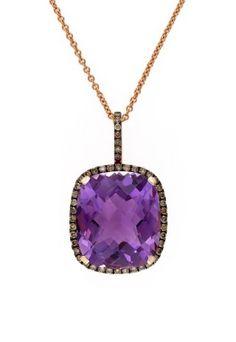 Gemma Rose Gold Amethyst & Diamond Pendant, 8.74 TCW