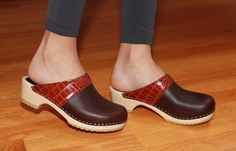 Bedford Low Heel Clog in Brown / Embossed Leather. Handcrafted with Love in New England.