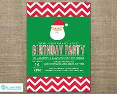Santa Birthday Party Invitation Christmas Birthday by EllisonReed