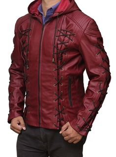 Amazon.com: Arrow Hoodie Leather Costume Jackets - Available in 3 Designs: Clothing