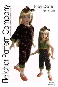 """Play Date Doll Clothes Sewing Pattern for 14"""" Kish a Designs by Jude #DesignsbyJude"""