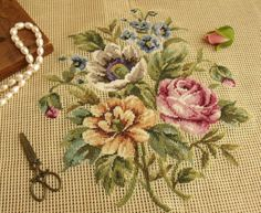 Embroidery Hoop Art, Cross Stitch Embroidery, Cross Stitch Patterns, Embroidery Designs, Needlepoint Stitches, Needlepoint Canvases, Needlework, Cross Stitch Flowers, Le Point