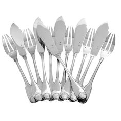 1stdibs   Antique French All Sterling Silver Fish Flatware 12 pc Crown