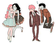 Gumlee and bubbline Marshall lee and Prince gumball, Marceline and Princess bubblegum modern fashion