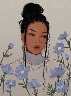 """Mar 8, 2021 - """"my art x flowers 🥰🌸"""" Black Art Painting, Arte Sketchbook, Black Girl Art, Digital Art Girl, Magic Art, Cartoon Art Styles, Anime Art Girl, Portrait Art, Aesthetic Art"""