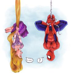 Rapunzel Spiderman - disney, marvel comics, tangled, princess, funny love my taned and SPIDERMAN Disney Magic, Disney Pixar, Disney Fan Art, Disney Amor, Disney E Dreamworks, Disney Tangled, Cute Disney, Disney Style, Disney Movies