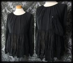Gothic Black Sheer Crinkle MYSTERIOUS Smock Top Tunic 12 14 Romantic Vintage