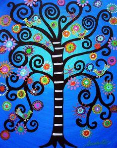 Whimsical, Tree of Life, Bar, Bat, Mitzvah, Judaica, Mexican Painting, Folk art, prisarts, pristine cartera-turkus, painting, florals, flowers, blooms, trees