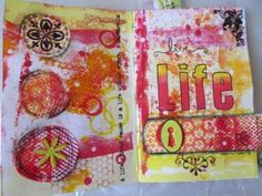 Mixed Media Art - using Gelli printed background papers for mixed media art ideas  Art journalling While I am making my jelly take prints, I also use the excess paint from the stencils and brayer in my art journal to create a pre-painted background. It is then easy to use the colour-coordinated prints to add features in the art journal layout. Here are a few of my favourites: