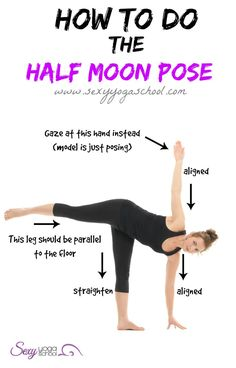 In yoga, half moon is a pose that improves balance, focus, concentration, and confidence. This posture opens the hips and strengthens the ankles, knees and lower body.