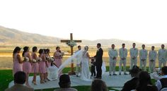 view wedding country bride cross country sunset valley vintage rustic elegant pink cross barn mountains