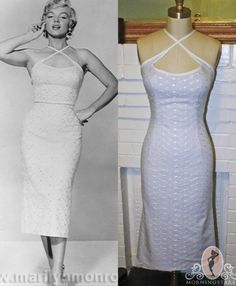 Marilyn Monroe Halter Wiggle Dress- White & Light Blue- Seven Year Itch Piano Dress-Custom Made to Size