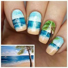 Beach w/Sailboat Nail Art