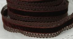 Brown Crochet Lace Ribbon  Yummy, rich and oh so elgant. Lush velvet edged in delicate crochet.  Width - 1 inch  Quantity - by the yard  Ships well wrapped for safe dry travel.
