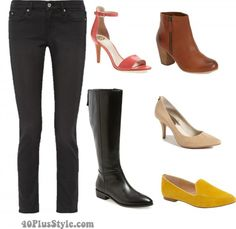 Skinny leg pants jeans boots loafers heels | 40plusstyle.com