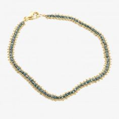 Amali Textile Station Bracelet Blue Diamonds & Yellow Gold