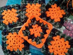 Orange and camo granny squares @Bonnie Pacella