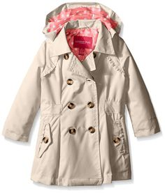 London Fog Big Girls Lightweight Trench Coat, Khaki, 14/16
