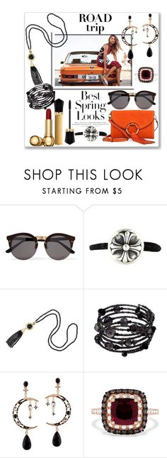 """""""Rev It Up: Road Trip Style"""" by slynne-messer ❤ liked on Polyvore featuring H&M, Christian Louboutin, Illesteva, Chrome Hearts, 1928 and Effy Jewelry"""