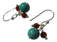 Turquoise Round Beads and Carnelian Faceted Beads Earrings in Sterling Silver Blue Breeze Jewelry http://www.amazon.com/dp/B008CVWK3E/ref=cm_sw_r_pi_dp_g4cVtb0GGAAHS4F8