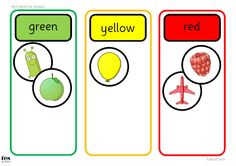 Colour Sort TEACCH Activities: 2 activities to use at a workstation or in a small group. Contains base board with areas for sorting into colours and images to sort. First version is red, blue, yellow and the second version is green, yellow, red. Base boards could be used for sorting other items, such as maths cubes or compare bears.