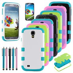 Hybrid High Impact Hard Soft Combo Case Cover for Samsung Galaxy S4 S IV i9500