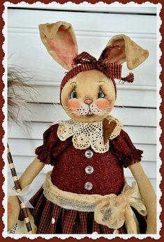 Primitive Pattern, Bunny Rabbit, Spring E-Pattern, Cloth doll pattern, PDF instant download pattern, Digital download pattern, sewing