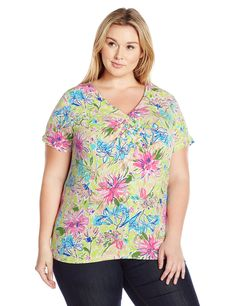 fcdaad8a59c67 Caribbean Joe Womens Plus Size Short Sleeve Weave V Neck Floral Printed Top  Limesicle 1X -