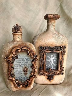 mariann's paper world altered bottle using mod podgeThese wine bottle crafts present you with a ton of ways to pull out and reinvented this daily piece.Love the picture frame idea.Wine Storage Temperature And Serving Suggestions Old Wine Bottles, Recycled Wine Bottles, Wine Bottle Art, Diy Bottle, Vintage Bottles, Bottles And Jars, Glass Bottles, Perfume Bottles, Beer Bottle