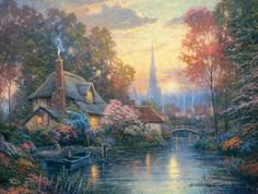 Thomas Kinkade Nanette's Cottage art painting for sale; Shop your favorite Thomas Kinkade Nanette's Cottage painting on canvas or frame at discount price. Art Thomas, Painter, Painting, Beautiful Paintings, Cottage Art, Art, Thomas Kinkade Disney, Thomas Kinkade Paintings, Beautiful Art