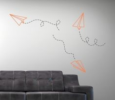 Paper Airplane Vinyl Wall Decal - Children Boy Nursery - Living Room College Dorm via Etsy