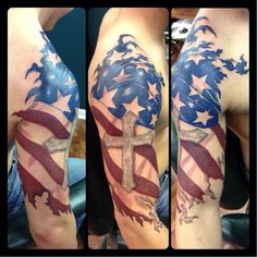 half sleeve tattoos american flagRipped American Flag with Cross Halfsleeve color tattoo Tattooed Irezumi Tattoos, Tribal Tattoos, Patriotische Tattoos, Badass Tattoos, Body Art Tattoos, Tattoos For Guys, Tatoos, Tattoos Verse, Tattoo Drawings