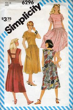 Simplicity 6296 1980s Misses Pullover  Dress Pattern by mbchills Great sundress womens vintage sewing pattern