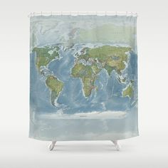 Australia Centered World Map Shower Curtain Mercator | Map Ology And Travel  Decor | Pinterest | Australia, Map Fabric And Shower Rod