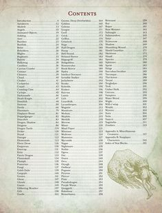 D&D 5.0 Monster Manual - Table of Contents TOC | Book cover and interior art for Dungeons and Dragons 5.0 - Dungeons & Dragons, D&D, DND, 5th Edition, 5th Ed., 5.0, 5E, Next, d20, fantasy, Roleplaying Game, Role Playing Game, RPG, Game System License, GSL, Open Game License, OGL, Wizards of the Coast, WotC | Create your own roleplaying game books w/ RPG Bard: www.rpgbard.com | Not Trusty Sword art: click artwork for source