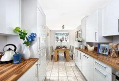 kitchen/dining, white gloss and oak kitchen