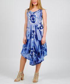 Look at this #zulilyfind! Denim Blue Tie-Dye Umbrella Dress - Plus #zulilyfinds