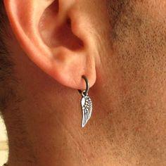 Angel Wing Earring Mens Earrings Black Hoop Earring for men Unisex Hoops Black Sterling Silver Mens Jewelry gothic Earring -> Men Jewelry Gothic Earrings, Gothic Jewelry, Silver Hoop Earrings, Dangle Earrings, Silver Jewelry, Men's Jewelry, Gothic Clothing, Upcycled Clothing, Jewellery Box