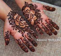 Gorgeous floral mehndi chosen by a calming, intelligent and gorgeous personality. I had a wonderful time with this client laughing away… Henna Hand Designs, Arabic Henna Designs, Unique Mehndi Designs, Beautiful Mehndi Design, Mehndi Designs For Hands, Henna Tattoo Designs, Bridal Mehndi Designs, Mehndi Desing, Heena Design