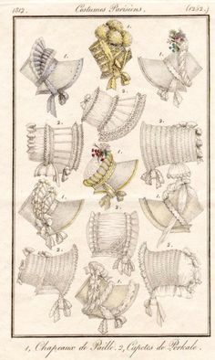 regency hats, 1812, costumes parisiens