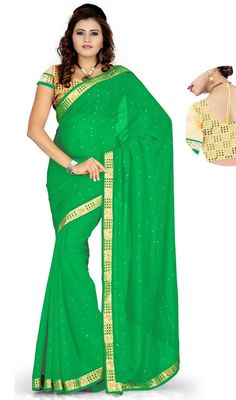 Decode your fashion statement dolled up in this green color georgette saree. The pretty lace and resham work a intensive characteristic of this attire. Upon request we can make round front/back neck and short 6 inches sleeves regular sari blouse also. #FabGreenBorderWorkSari