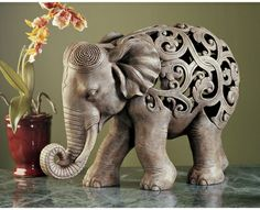 Anjan the Elephant, Jali Sculpture~~♥~~I would like it even better if his trunk were  higher