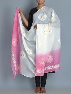 White-Pink Kota Doria Cotton Zari Phool Patti Chikankari Embroidered Dupatta